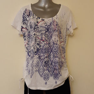 Style & Co Floral Design Side Ruching w Ties Tee